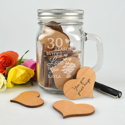 '30 Reasons Why I Love you' Engraved Mason Jar with Wooden Hearts