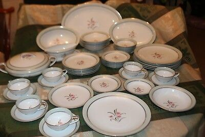 """47 PC Service for 6 NORITAKE China """"CLARABELL"""" JAPAN #5557 PLUS Serving Dishes"""