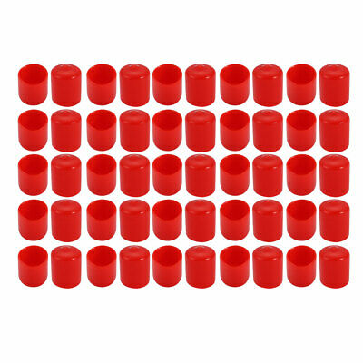 50Pcs 15mm Inner Dia PVC Flexible Vinyl End Cap Screw Thread Protector Cover Red
