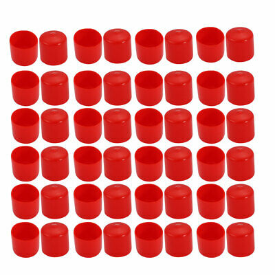 50Pcs 23mm Inner Dia PVC Flexible Vinyl End Cap Screw Thread Protector Cover Red