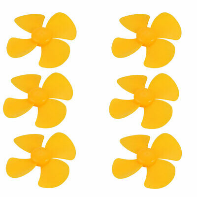 6pcs Plastic 4 Vanes Propeller 80mm Dia Yellow for DIY RC Boat Airplane Toy