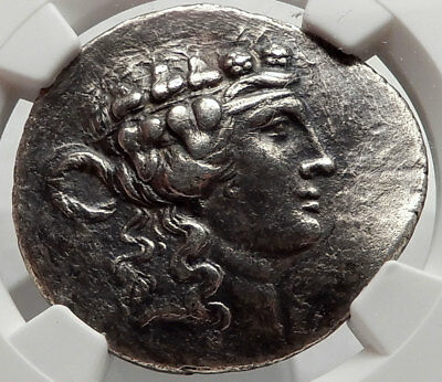 Maroneia Thrace Ancient Greek 168BC Tetradrachm Silver Coin Dionysus NGC i66850