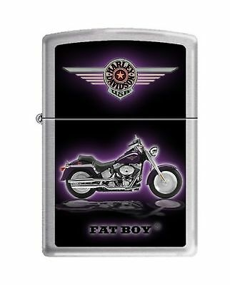 Zippo Harley-Davidson Motorcycle Lighters Brushed Chrome Fat Boy New