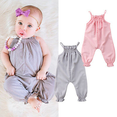 Newborn Toddler Baby Girls Summer Strap Romper Jumpsuit Playsuit Outfits Clothes