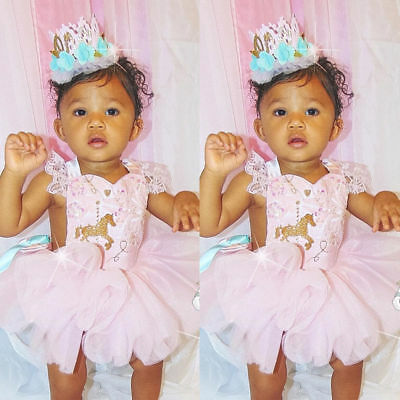 Toddler Baby Girl Romper+Lace Skirt Party Gown Outfits Set Unicorn Tutu Clothes