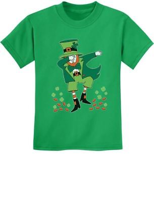 St. Patrick's Day Clovers Dabbing Leprechaun Youth Kids T-Shirt Gift Idea