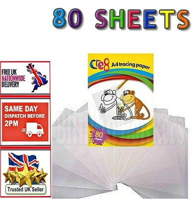 80 Sheet Pack A4 Tracing Copying Paper Pad Drafting Paper Home School Office