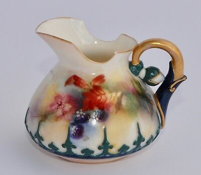 1905 Antique Royal Worcester Hadley Ware Hand Painted BERRIES Creamer 243/11.38