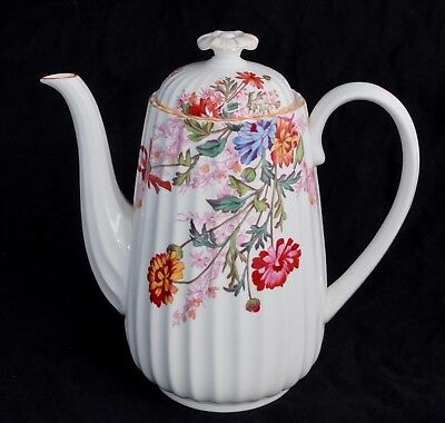 Vintage Spode CHELSEA GARDEN Coffee Pot / Hot Water - Mustard Trim - 1.250L/8""