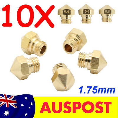 10pcs New MK10 M7 Brass Screw Nozzle For Wanhao 1.75mm 3D Printer 0.4/0.6/0.8mm