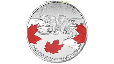 25 $ Dollar True North Ours Blanc Polar Ours Canada Argent 2016