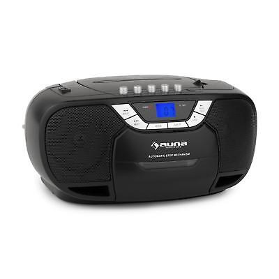 Auna Beeberry Boom Box Radio Cd Mp3 Player Tape Top Cd Aux In  Battery Black