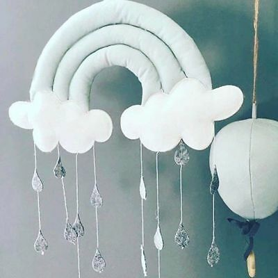 Rainbow Cloud Rain Drops Bed Wall Hanging Photo Prop Babys Nursery Bedroom Decor