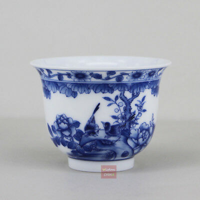 Hand painted bird flowers China Jingdezhen Blue and White Porcelain Tea Cup 90cc