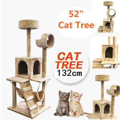 132CM 52Inch Large and Soft Cat Tree Scratching Post Scratch Poles Gym House