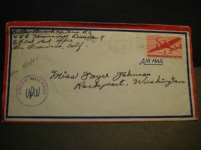 USS MISSISSIPPI BB-41 Naval Cover 1944 Censored WWII Sailor's Mail PELELIU