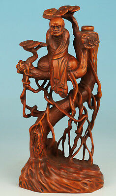 Chinese Boxwood Handmade Carved Damo Buddha Tree Reflect Statue Figure