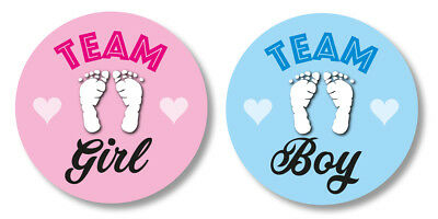 48x Stickers Baby Shower games, Gender reveal party, Team Girl x24 Team Boy x24