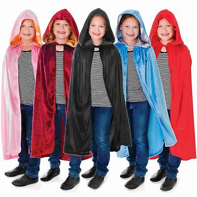 Kids Boys Girls Velvet Hooded Cape Robe Cloak Book Week Fancy Dress Costume