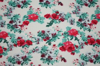 Cream//Red Monet Splodge Roses Print 100/% Spun Viscose Dress Fabric Material