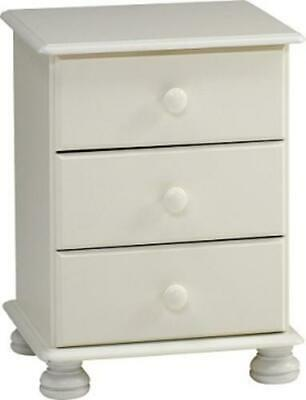 Richmond white 3 drawer cabinet bedroom furniture country style solid bedside