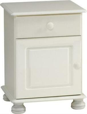 Richmond white 1 drawer 1 door bedroom solid chunky furniture bedside cabinet