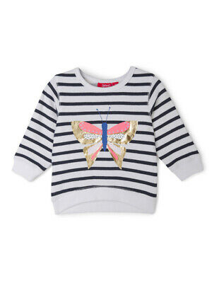 NEW Sprout Girls Essential Crew Neck Sweat - Butterfly/Stripe White