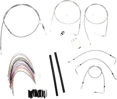 "Burly Brand Braided SS Cable/Line Kit For 16"" Ape Hanger Bar B30-1080"