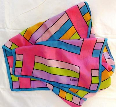 "~Vintage Echo Long Silk Scarf Fun Colors 46"" X 15""~"