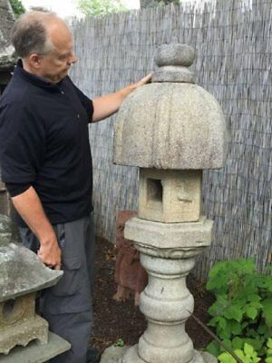 "Japanese Antique Stone Granite ""Heron"" Lantern 80 years old from Kyoto Garden9p"