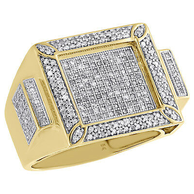 10K Yellow Gold Diamond Mens Square Concave Designer Pave Pinky Ring 1.02 CT.