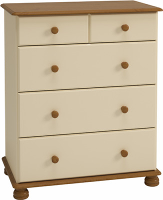 Richmond cream and pine home bedroom furniture 2+3 deep chest of drawers cabinet
