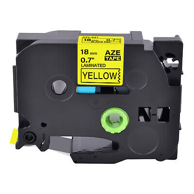 US STOCK 1PK Black on Yellow Label Tape 18mm For Brother P-touch TZ-641 TZe-641