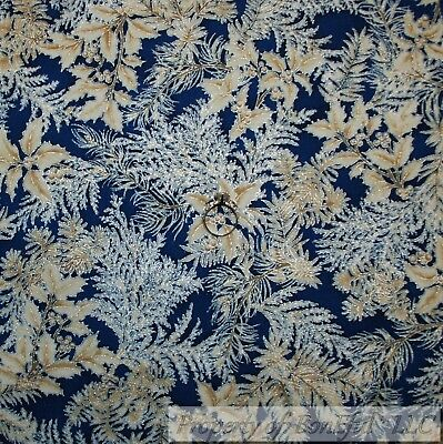 BonEful FABRIC FQ Cotton Quilt VTG Navy Blue Xmas Holly Berry Gold Metallic Leaf