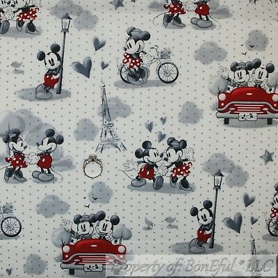 BonEful FABRIC FQ Cotton Quilt VTG White Black B&W Mickey Minnie Mouse Disney US