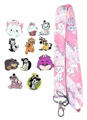 Cat Theme 5 Pin and Aristocats Marie Lanyard Set Walt Disney World ~ Brand NEW