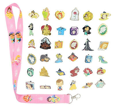 Princess Theme Starter Lanyard Set w/ 6 Disney Park Trading Pins ~ Brand NEW