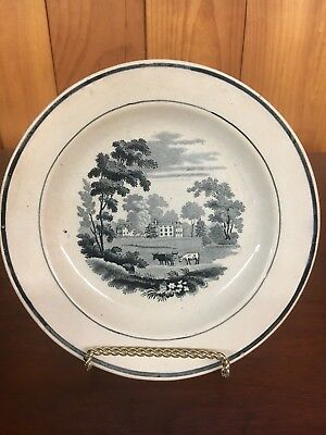 ANTIQUE Creamware PEARLWARE English Circa 1820 Black TRANSFERWARE Farm Animals