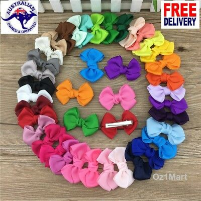 "24 Colors 2.5"" Hair Clip Alligator Baby Toddler Girl Kids Grosgrain Ribbon Bow"