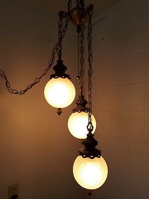 Vintage MID CENTURY RETRO Tiered Brass 3 CRACKLE GLASS GLOBES Hanging Lamp Light