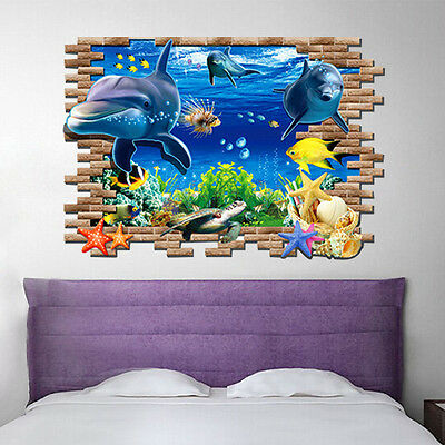 Wall Sticker Dolphin 3D Mural Removable Art Vinyl Decal Room Decor Kids DIY