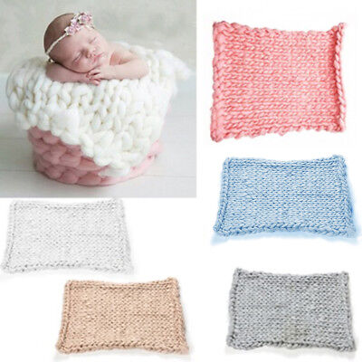 Knitted Crochet Blanket Mat Baby Newborn Photo Prop Photography Accessories Wit