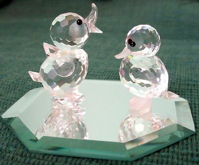 """Swarovski Discontinued Silver Crystal PAIR OF 1.7"""" and 1.4"""" DUCKLINGS"""