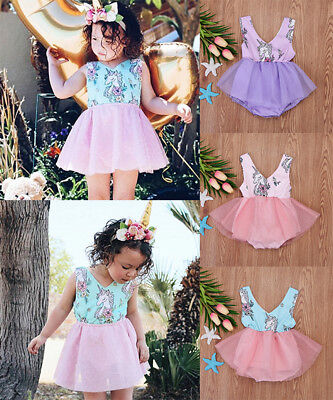 Toddler Newborn Baby Girls Unicorn Tulle Dress Skirts Romper Jumpsuit Outfits