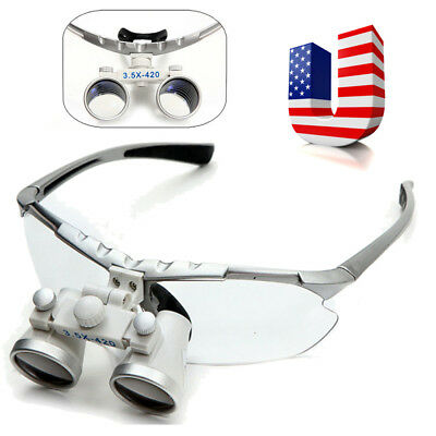 USA Dentist Silver Dental Surgical Medical Binocular Loupes 3.5X 420mm Magnifier