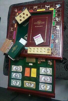 FRANKLIN MINT RARE DELUXE EDITION MONOPOLY BOARD GAME SET with spares!!