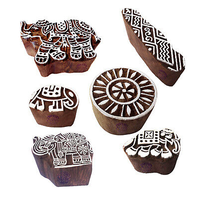 Intricate Motif Floral and Elephant Wood Stamps for Printing (Set of 6)