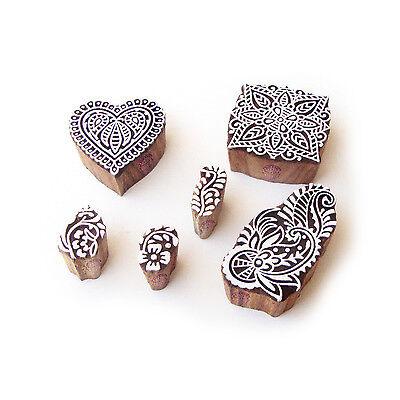 Heart and Flower Handcrafted Motif Wood Print Stamps (Set of 6)
