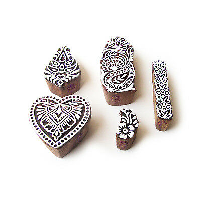 Heart and Flower Designer Pattern Wood Stamps for Printing (Set of 5)