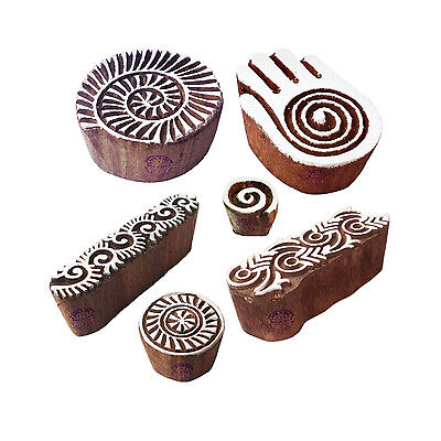 Beautiful Designs Spiral and Healer Hand Wood Print Stamps (Set of 6)
